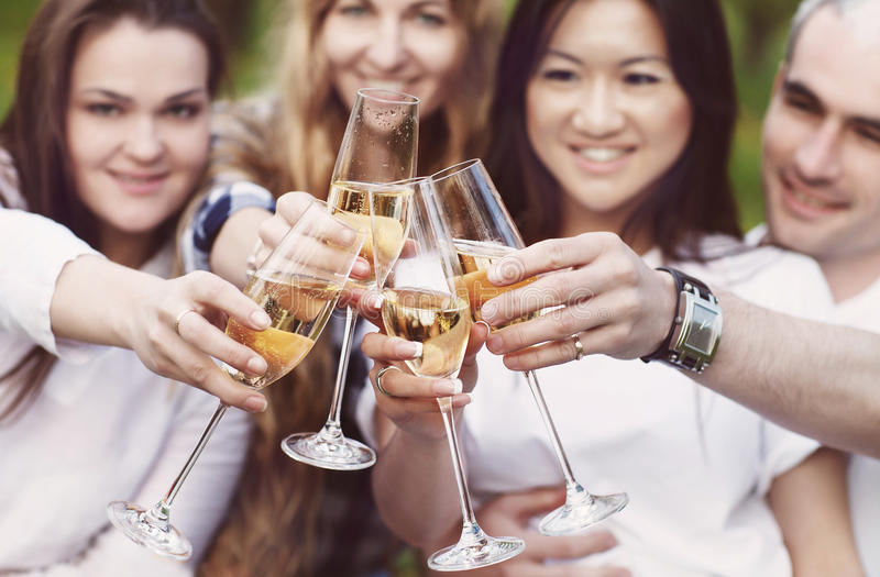 Celebration. People holding glasses of champagne making a toast. Outdoors. Summer picnic royalty free stock photo
