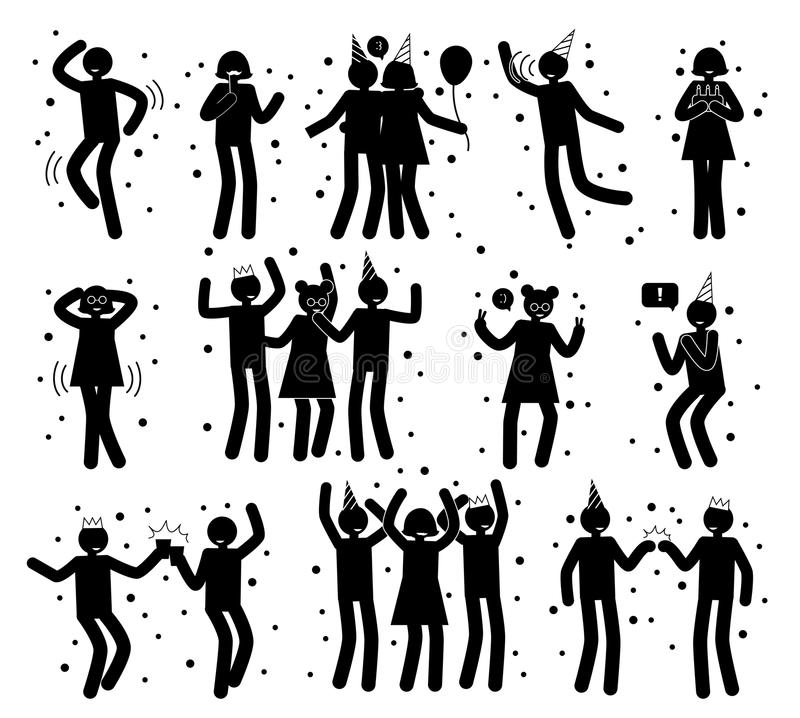 celebration poses collection of black silhouettes stock vector