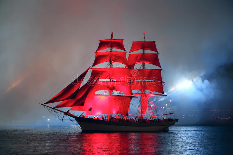 Celebration Scarlet Sails show during the White Nights Festival stock image