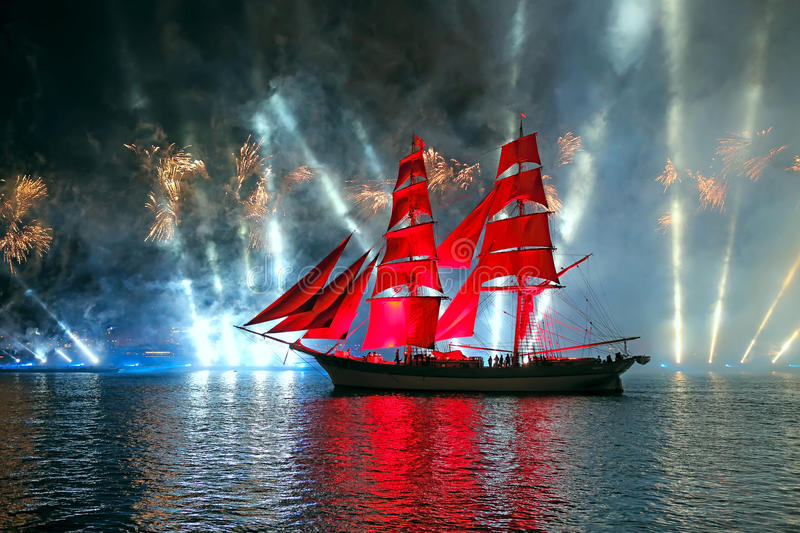Celebration Scarlet Sails show during the White Nights Festival royalty free stock photography