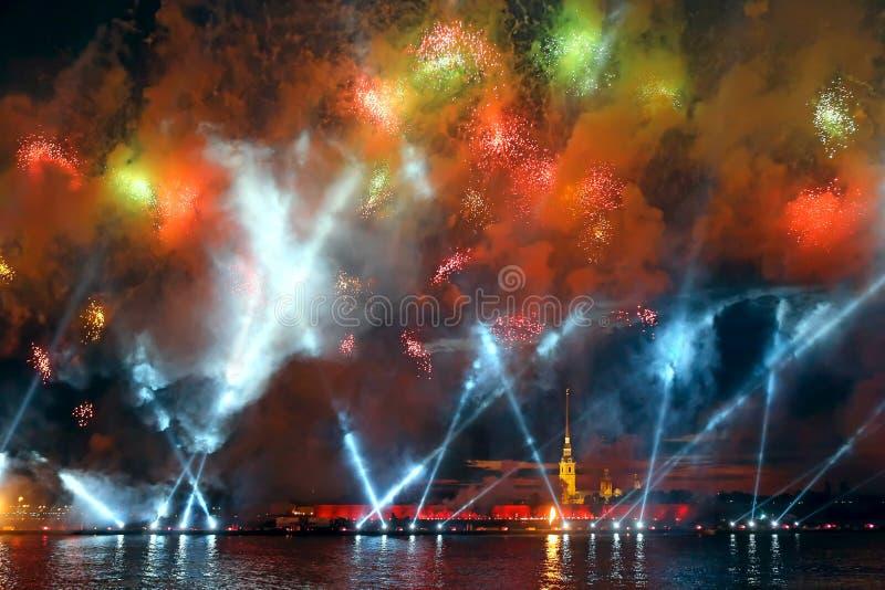 Celebration Scarlet Sails show during White Nights Festival stock images