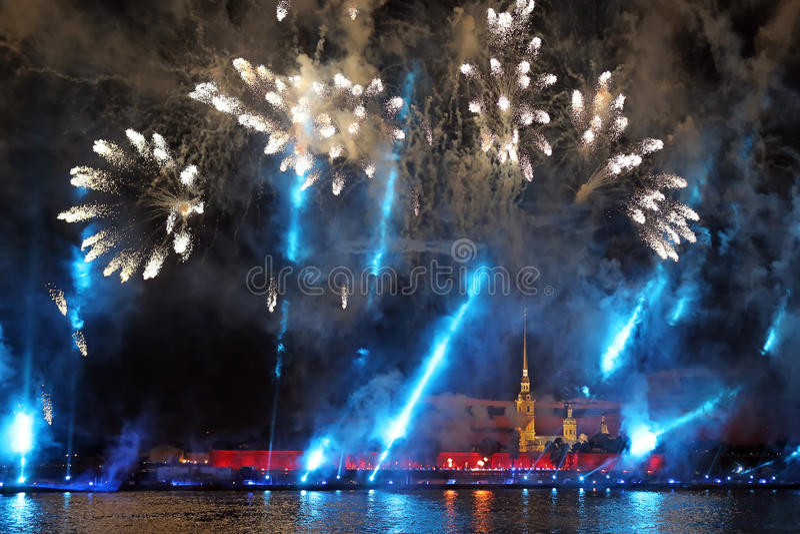 Celebration Scarlet Sails show during White Nights Festival stock image
