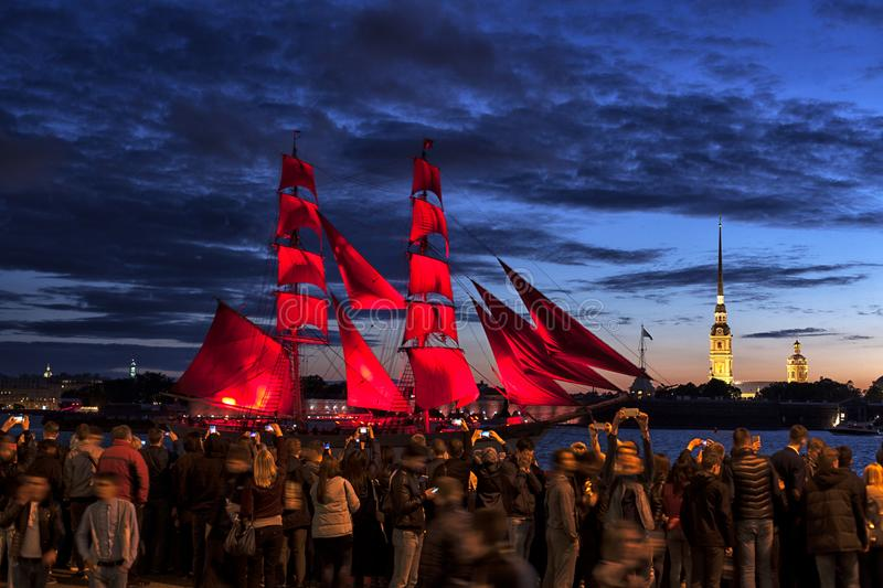Celebration `Scarlet Sails` show during the `White Nights` Festival in St.Petersburg, Russia. royalty free stock photo