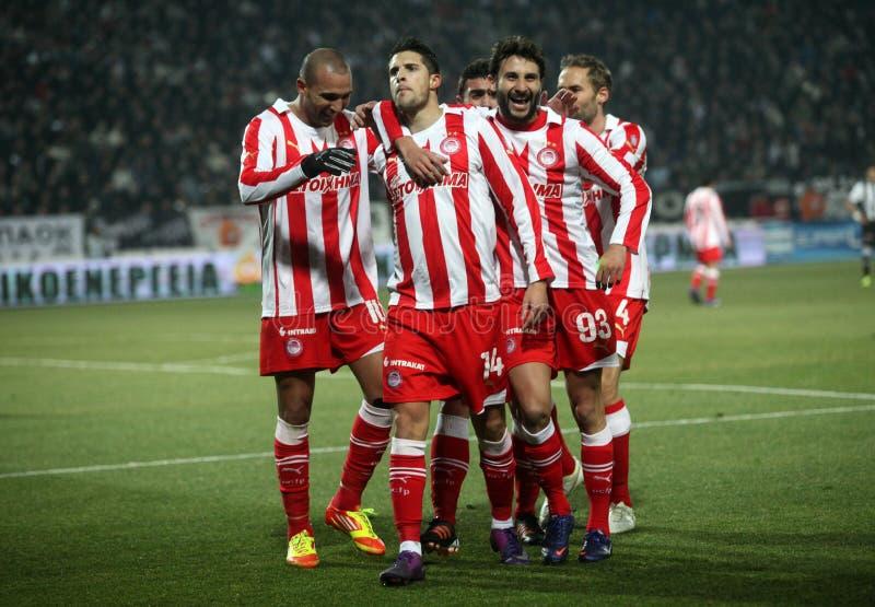 Celebration the second goal of Olympiakos royalty free stock image