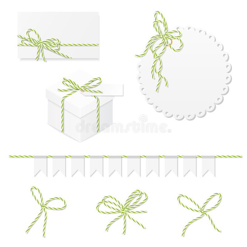 Celebration set with bakers twine bows. Celebration set of card, box, label, banner and green yellow bakers twine bows royalty free illustration