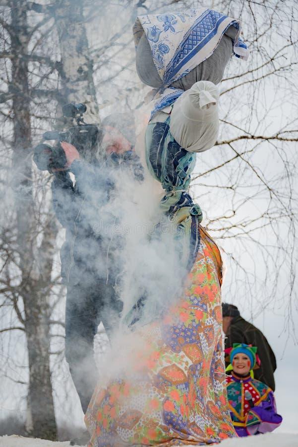 The celebration of Shrovetide in Borodino Museum on March 13, 2016 stock photo