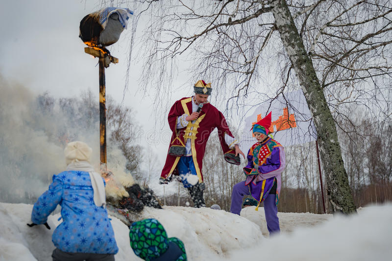 The celebration of Shrovetide in Borodino Museum on March 13, 2016 stock photography