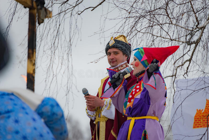 The celebration of Shrovetide in Borodino Museum on March 13, 2016 royalty free stock image