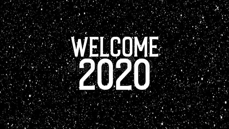2020 celebration with snowflakes. Animated text of `WELCOME 2020` royalty free illustration