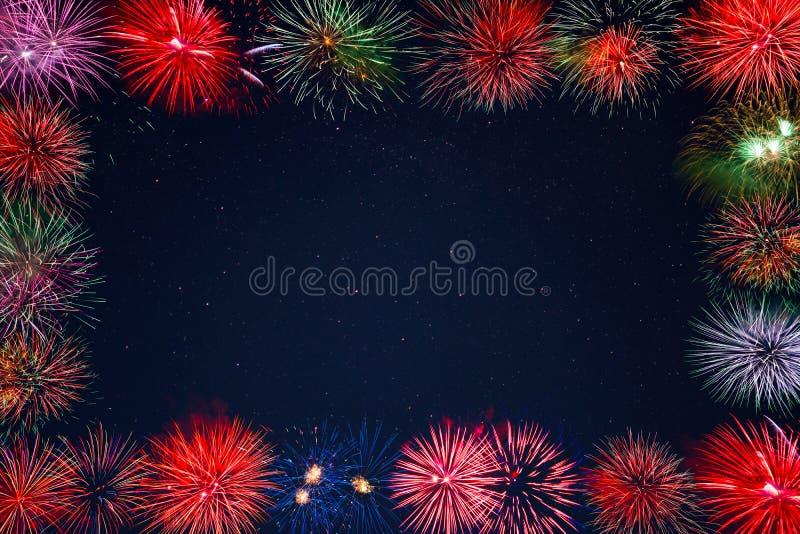 Celebration sparkling fireworks greeting card, copy space stock image