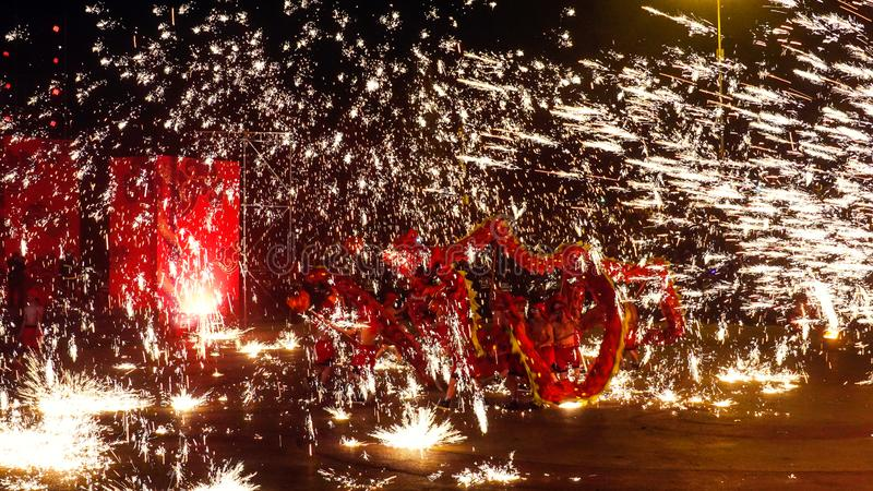 Tongliang Fire Dragon to celebrate Chinese Spring Festiva royalty free stock photography
