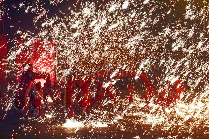 Tongliang Fire Dragon to celebrate Chinese Spring Festiva stock image
