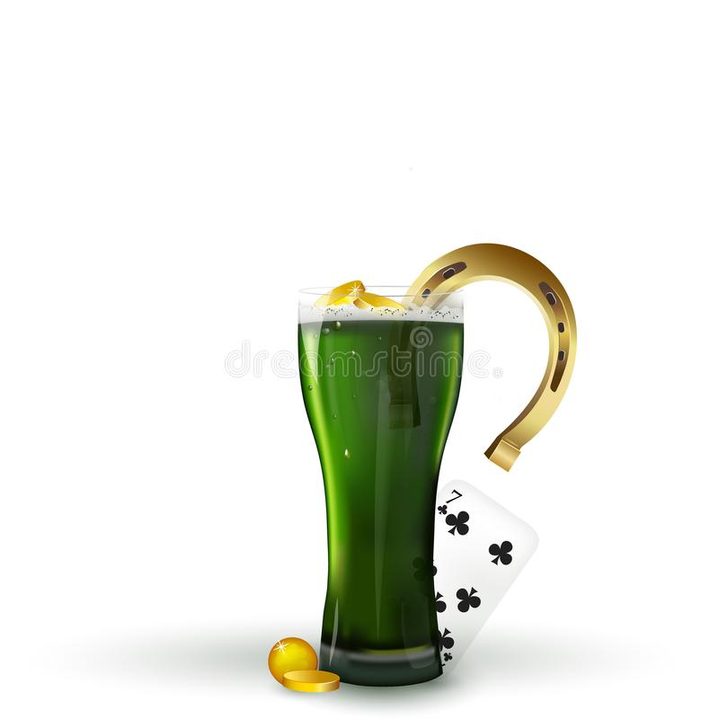 Celebration and st patricks day concept - glass of green beer with foam, horseshoe and gold coins and playing card 7 on table. stock illustration