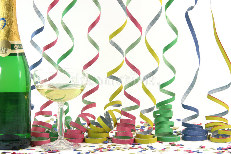 Celebration streamers. Champagne streamers confetti celebration and holidays concepts horizontal stock photos