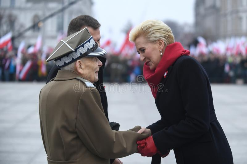 Celebration of the 100th anniversary of regaining independence by Poland stock photo