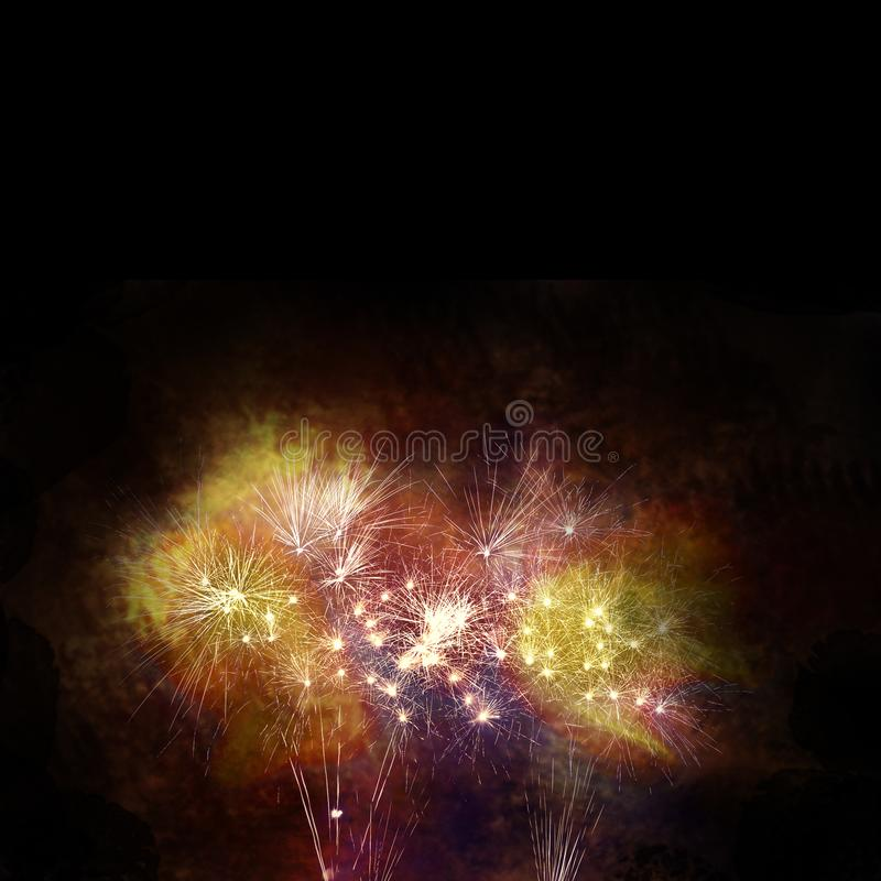 celebration time with colorful firework display and twilight sky stock photo