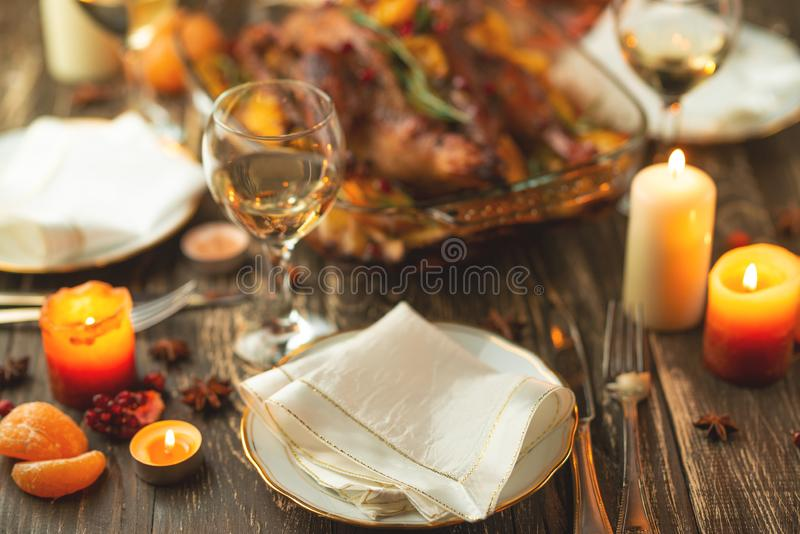 Festive Christmas table setting, happy new year and christmas stock images