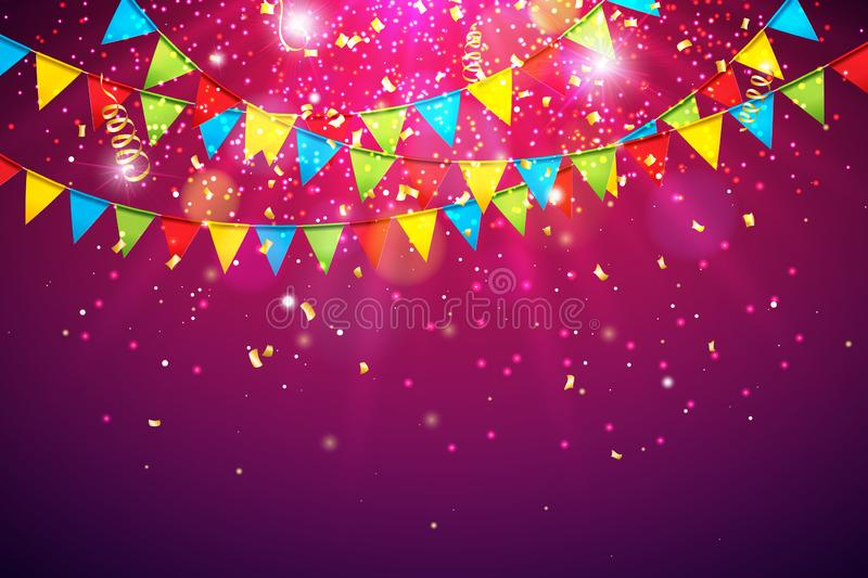 Celebration Vector Illustration with Colorful Party Flag and Falling Confetti on Shiny Violet Background. Holiday Design. Template for Birthday Invitation royalty free illustration