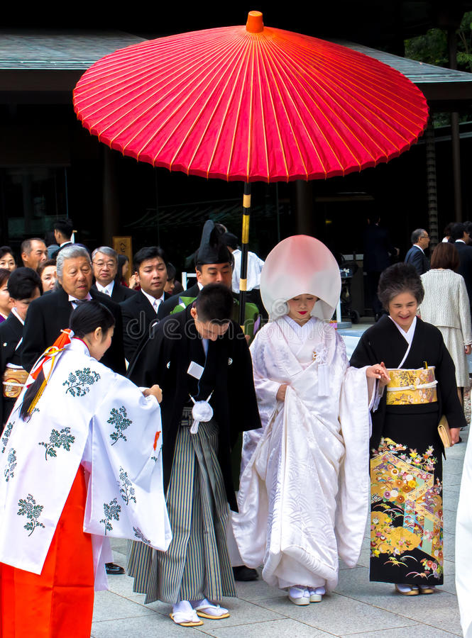 Celebration of a wedding with Traditional costumes in Japan. stock photo