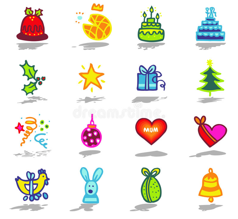 celebrations icons set 1 vector illustration