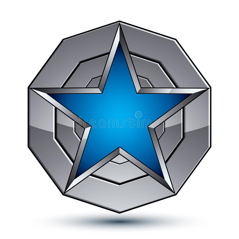 Celebrative metallic geometric symbol, stylized pentagonal blue. Star placed on a round silver surface, best for use in web and graphic design. Polished 3d royalty free illustration