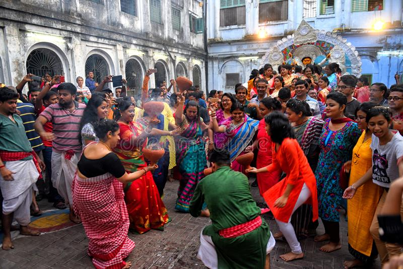 Celebraton van onderdompeling van Devi Durga stock afbeelding