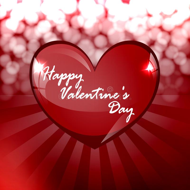 Celebratory background for Valentine`s day. For recognition. Glass heart with glare and brilliance. In the background, red and white stripes and flashes of stock illustration