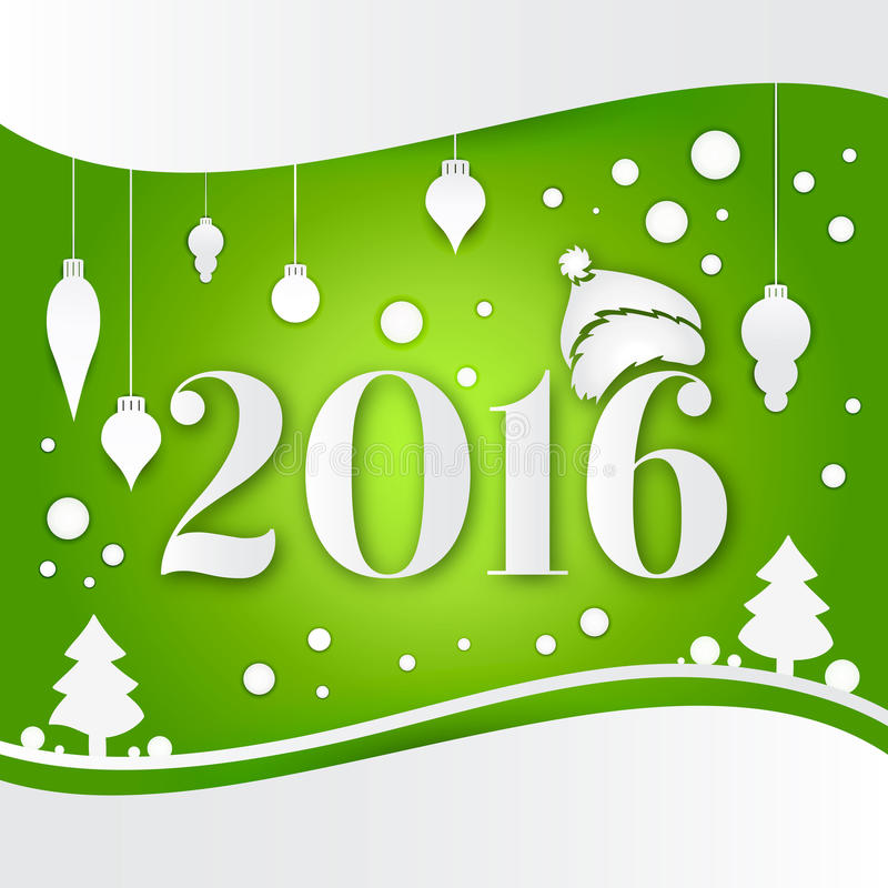 Celebratory bright background for Christmas and New Year. New 2016. White Christmas decorations, toys, snow falling. royalty free illustration