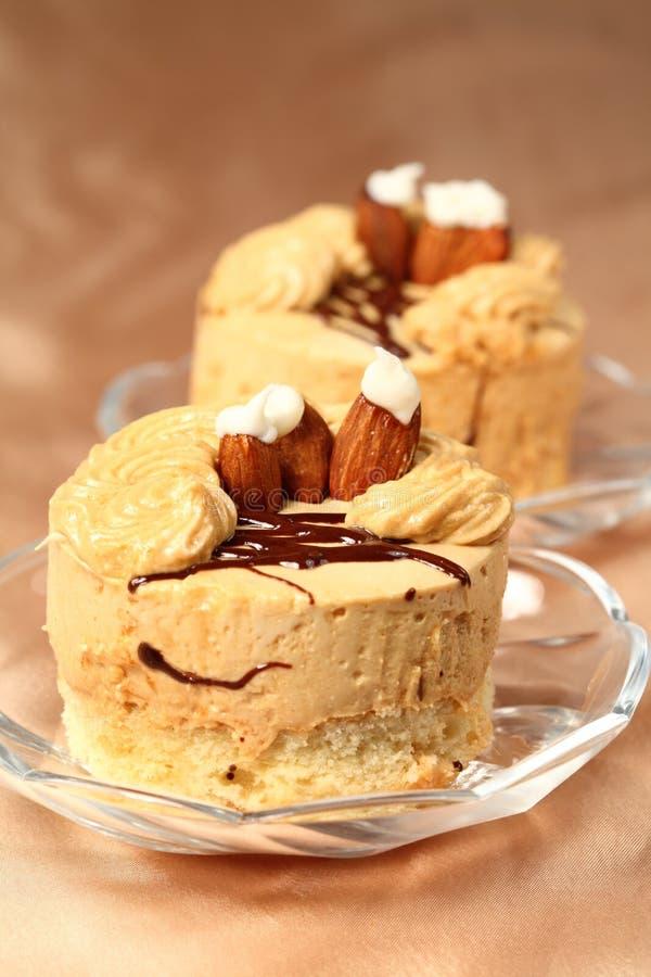 Celebratory coffee fancy cake royalty free stock photography