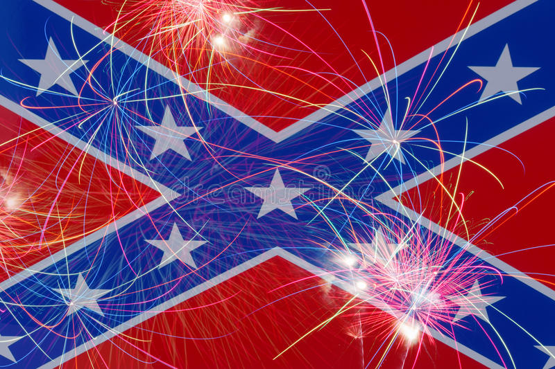 Download Celebratory Fireworks On The Background Of The Confederate Flag Stock Illustration - Image: 55944870