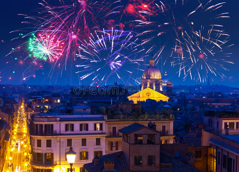 Celebratory fireworks over Rome.Italy. royalty free stock images