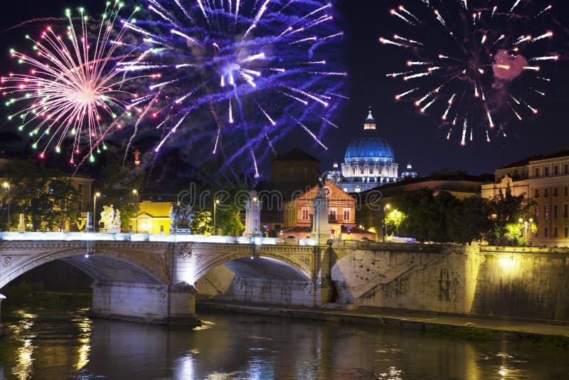 Celebratory fireworks over Sant ` Angelo Bridge. River Tiber. Rome. Italy stock images