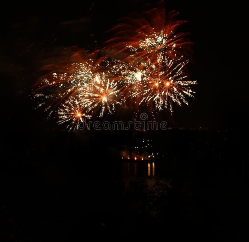 Celebratory fyrverkeri i en natthimmel royaltyfri bild
