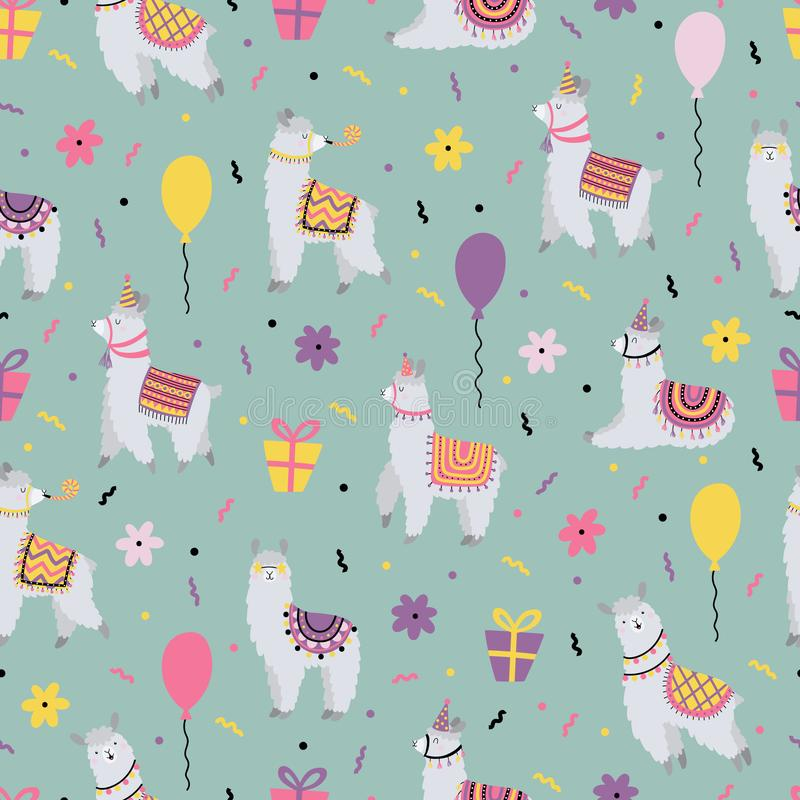 Celebratory seamless pattern with funny lamas. For Birthday royalty free stock image