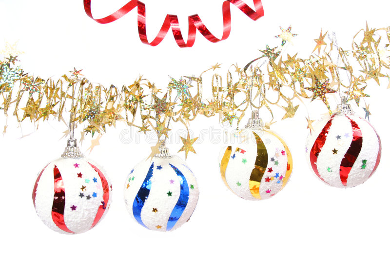 Download Celebratory Spheres Of Different Color And Stars Tinsel Royalty Free Stock Image - Image: 1766996