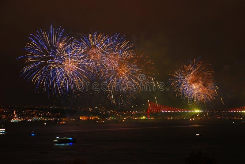 Celebrazione con i fuochi d'artificio fotografia stock