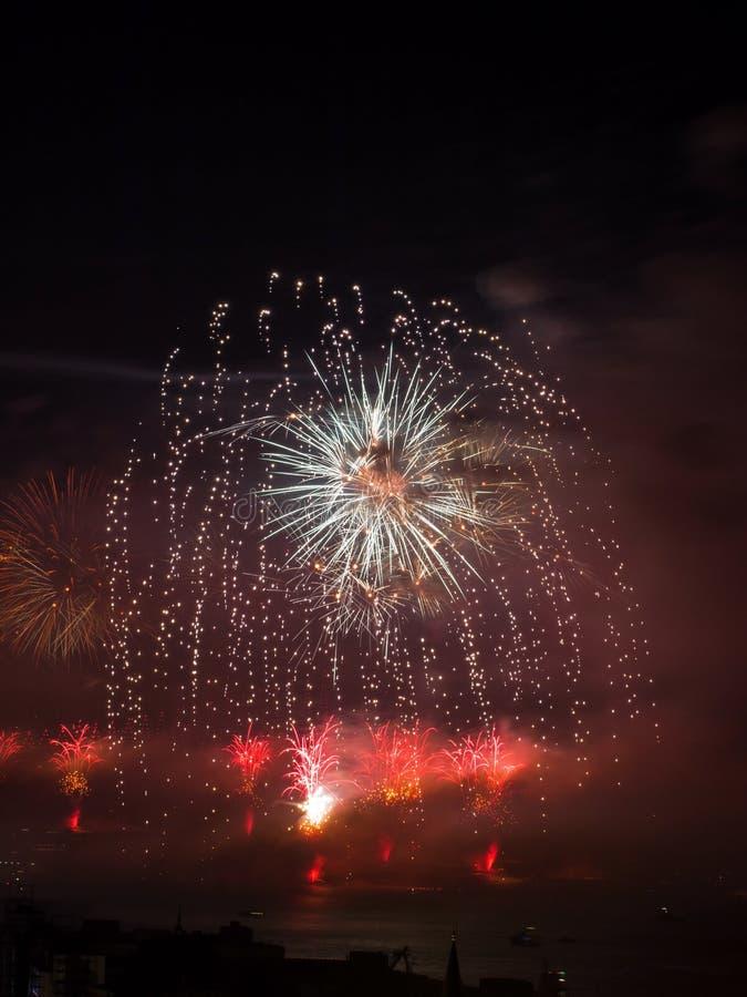Celebrazione dei fuochi d'artificio turchi di giorno della Repubblica immagini stock libere da diritti