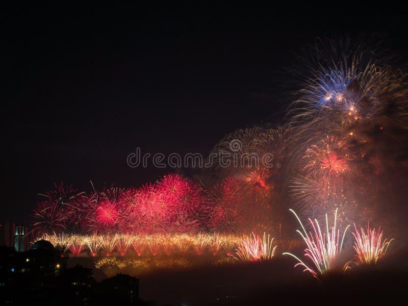 Celebrazione dei fuochi d'artificio turchi di giorno della Repubblica immagine stock