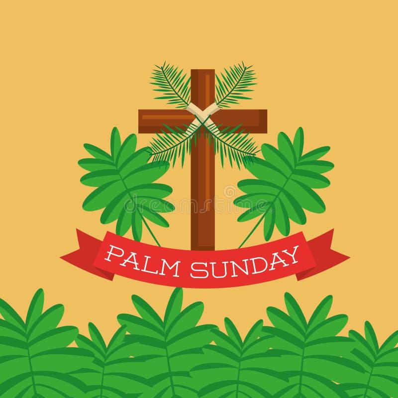 Celebrazione del cristiano del ramo dell'incrocio della cartolina d'auguri di Domenica delle Palme illustrazione di stock