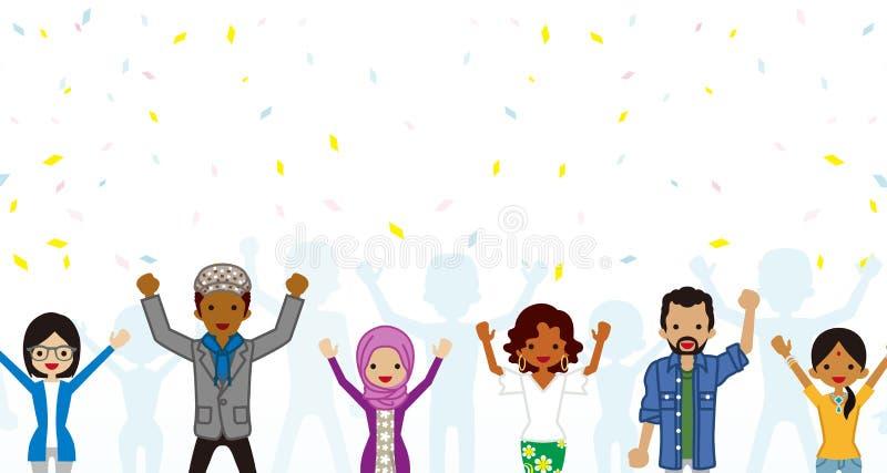 Celebrazione del gruppo giovane etnico multi degli adulti in coriandoli illustrazione vettoriale