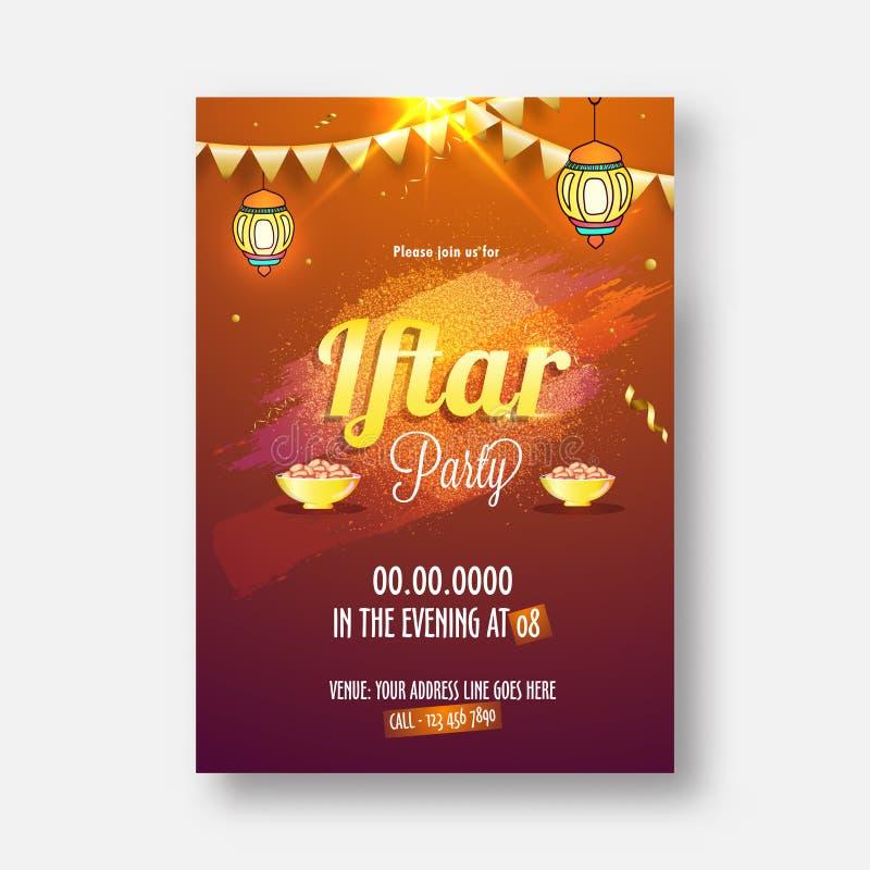 Celebrazione del partito di Iftar, progettazione di carta dell'invito con il gol alla moda royalty illustrazione gratis