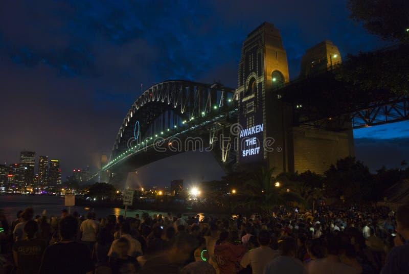 Celebrazione del ponticello di porto di Sydney NYE fotografie stock libere da diritti