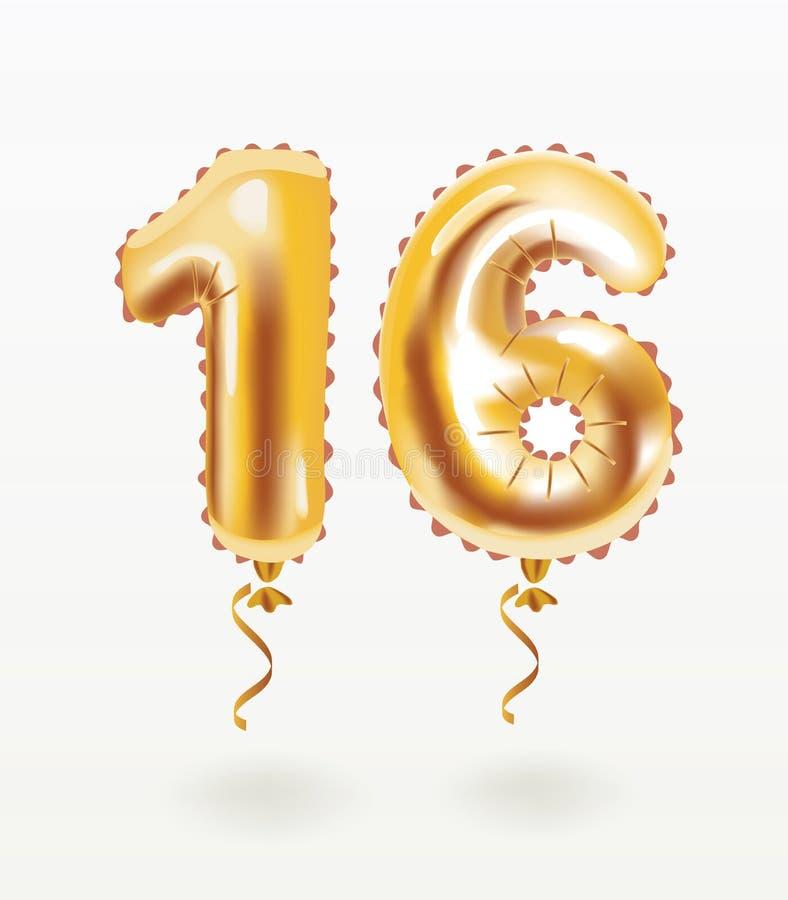 celebrazione di buon compleanno 16 con i palloni dell'oro illustrazione vettoriale