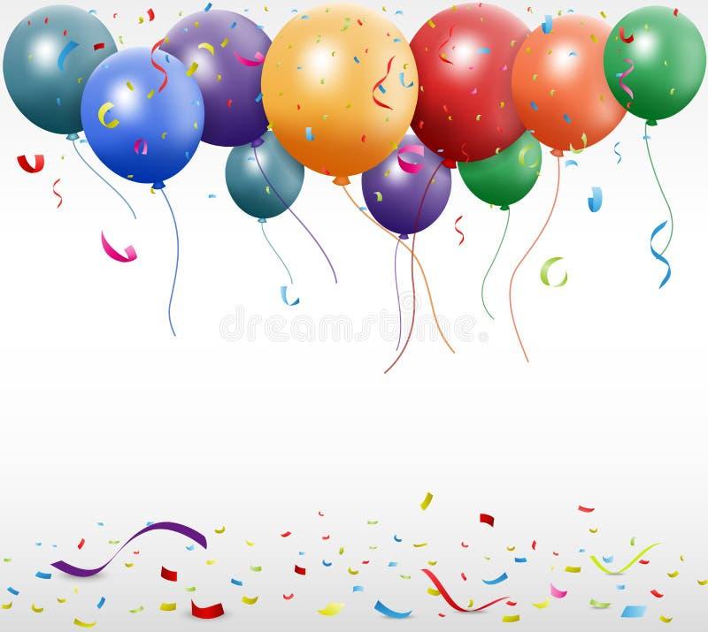 Celebrazione di compleanno con il pallone ed il nastro illustrazione di stock