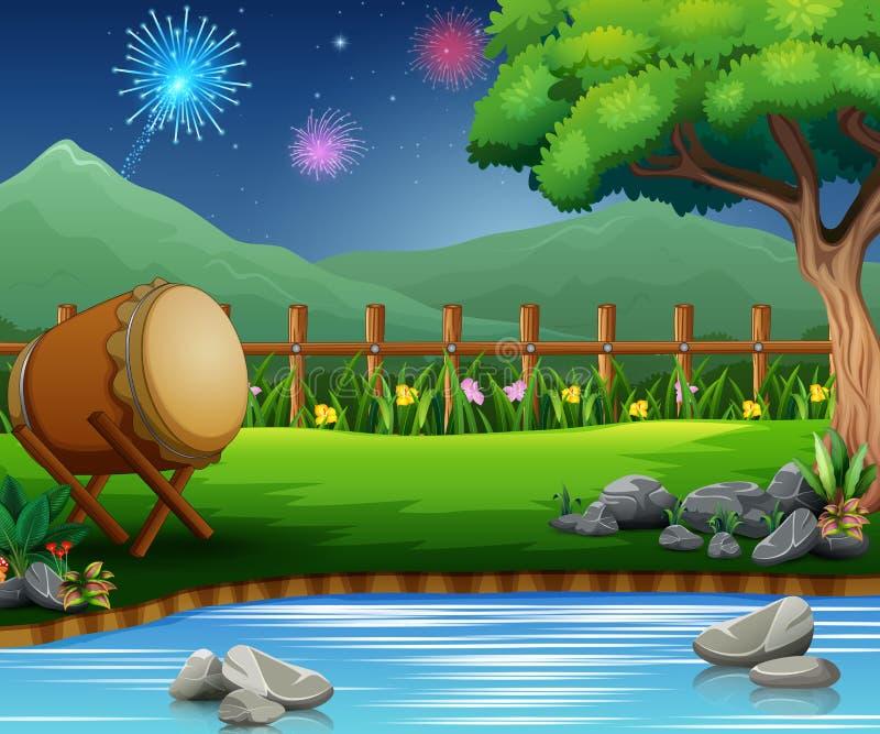 Celebrazione di Eid Mubarak sulla bella natura illustrazione di stock