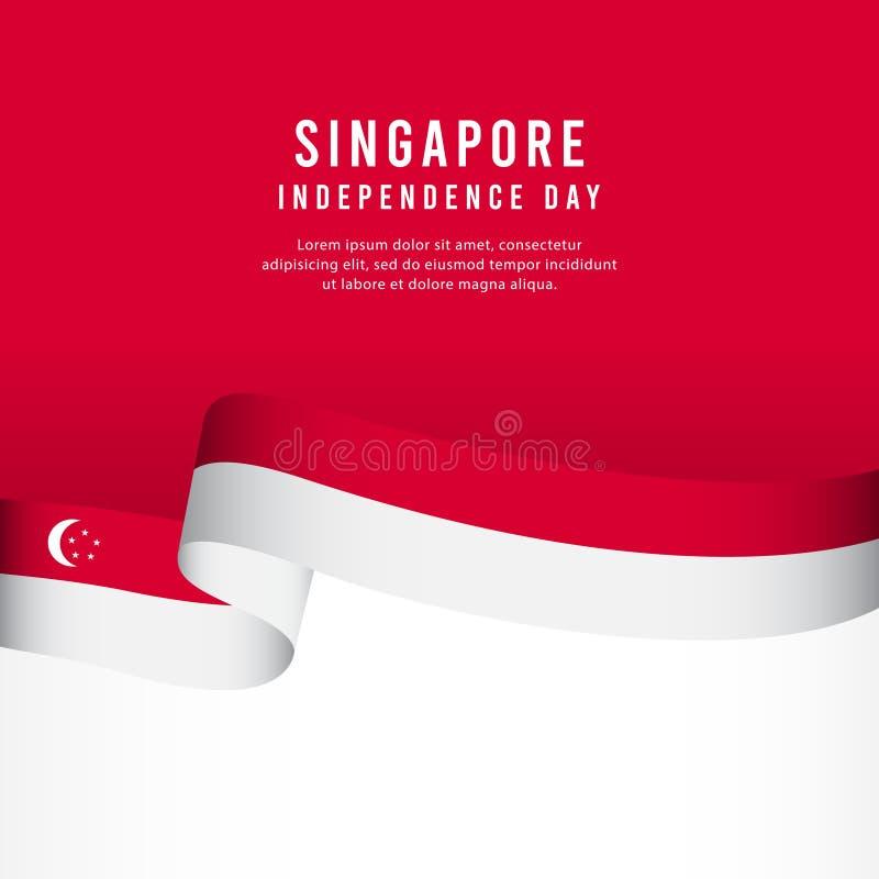 Celebrazione di festa dell'indipendenza di Singapore, illustrazione del modello di vettore di progettazione di insieme dell'inseg illustrazione vettoriale