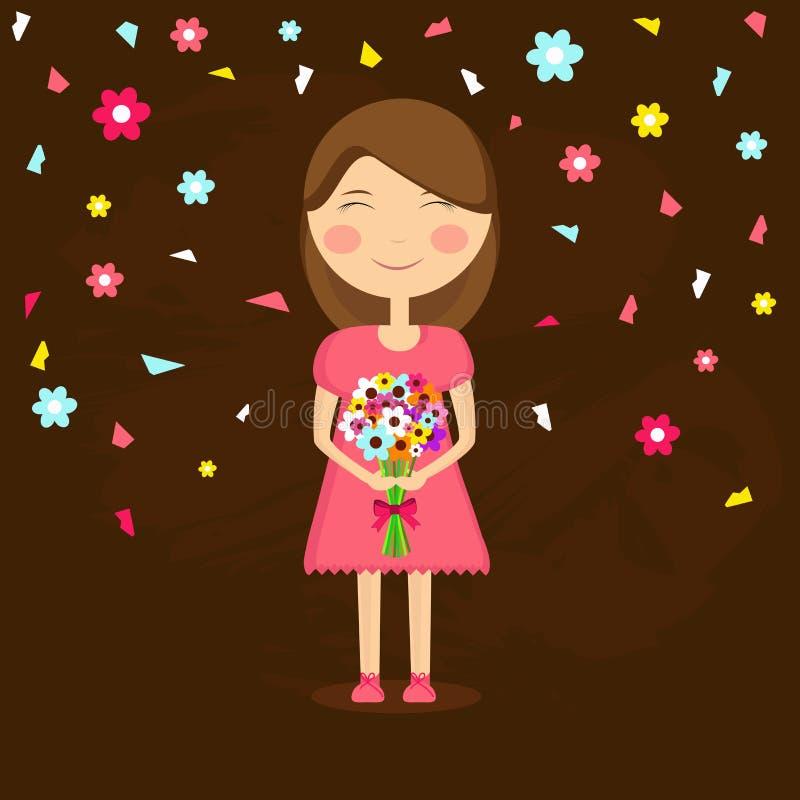 Celebrazione di Giornata internazionale della donna con la ragazza sveglia illustrazione vettoriale