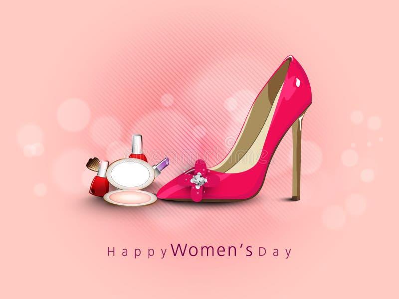 Celebrazione di Giornata internazionale della donna con la scarpa ed i cosmetici illustrazione vettoriale