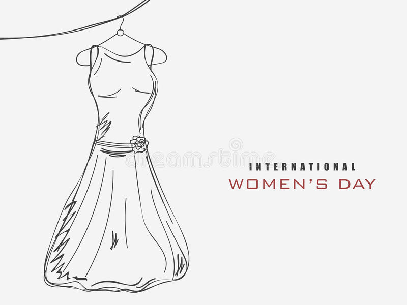 Celebrazione di Giornata internazionale della donna con un vestito illustrazione vettoriale