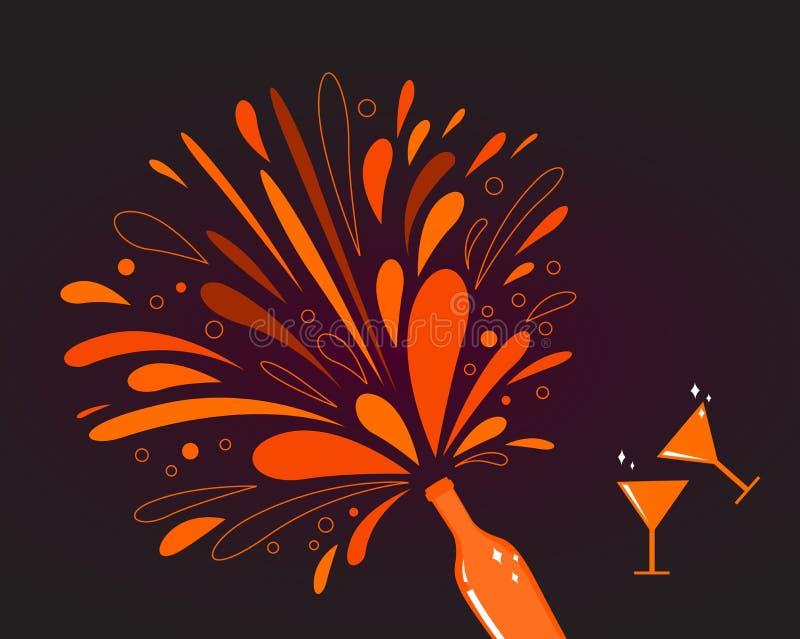 Celebrazione di giorno del biglietto di S. Valentino: vino rosso con spruzzata illustrazione vettoriale